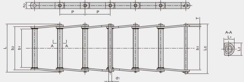 曳引用焊接结构弯板链